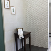 DL3922, Rhombus Geometrical Wall Feature, Sandwashed White with Breath & Licorice Wall & Floor_Tile Living Drummoyne