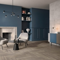 Timber look tiles_herringbone pattern_bedroom & WIR_tile living 2018_2