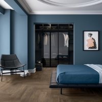 Timber look tiles_herringbone pattern_bedroom & WIR_tile living 2018_1